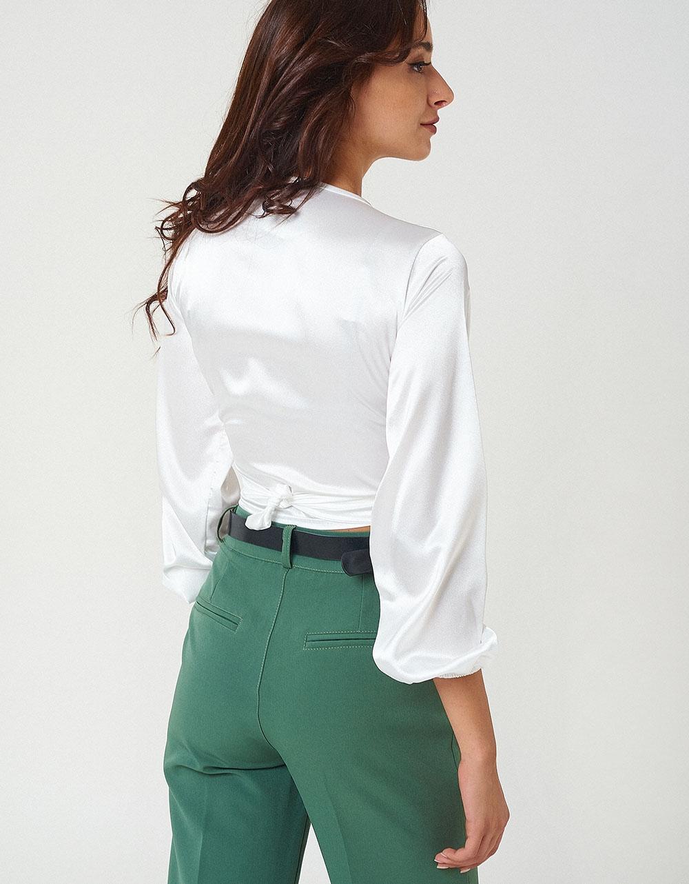 Εικόνα από Γυναικείο crop top με δέσιμο Λευκό