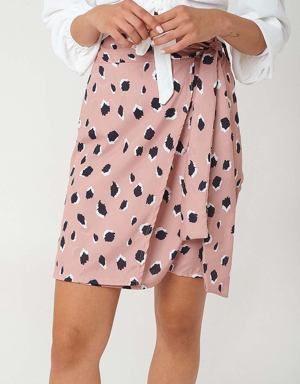 Εικόνα από Γυναικεία φούστα με δέσιμο Μπεζ