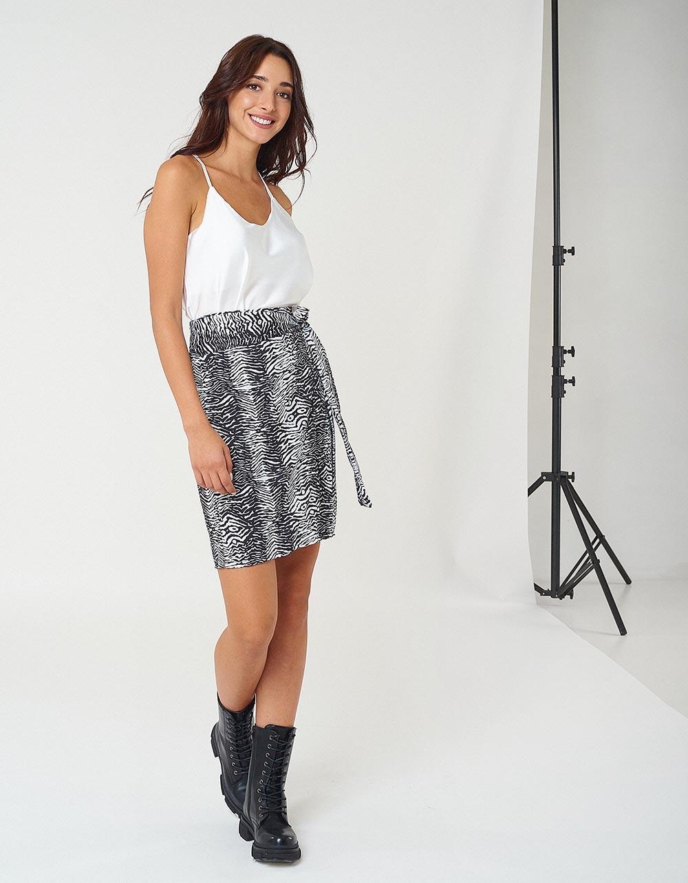 Εικόνα από Γυναικεία φούστα με δέσιμο Λευκό/Μαύρο