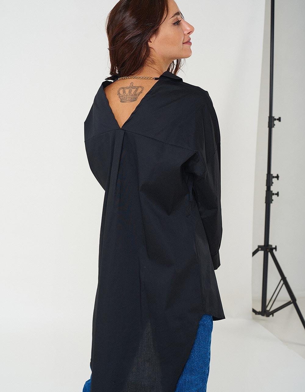 Εικόνα από Γυναικεία πουκαμίσα basic ασύμμετρη Μαύρο