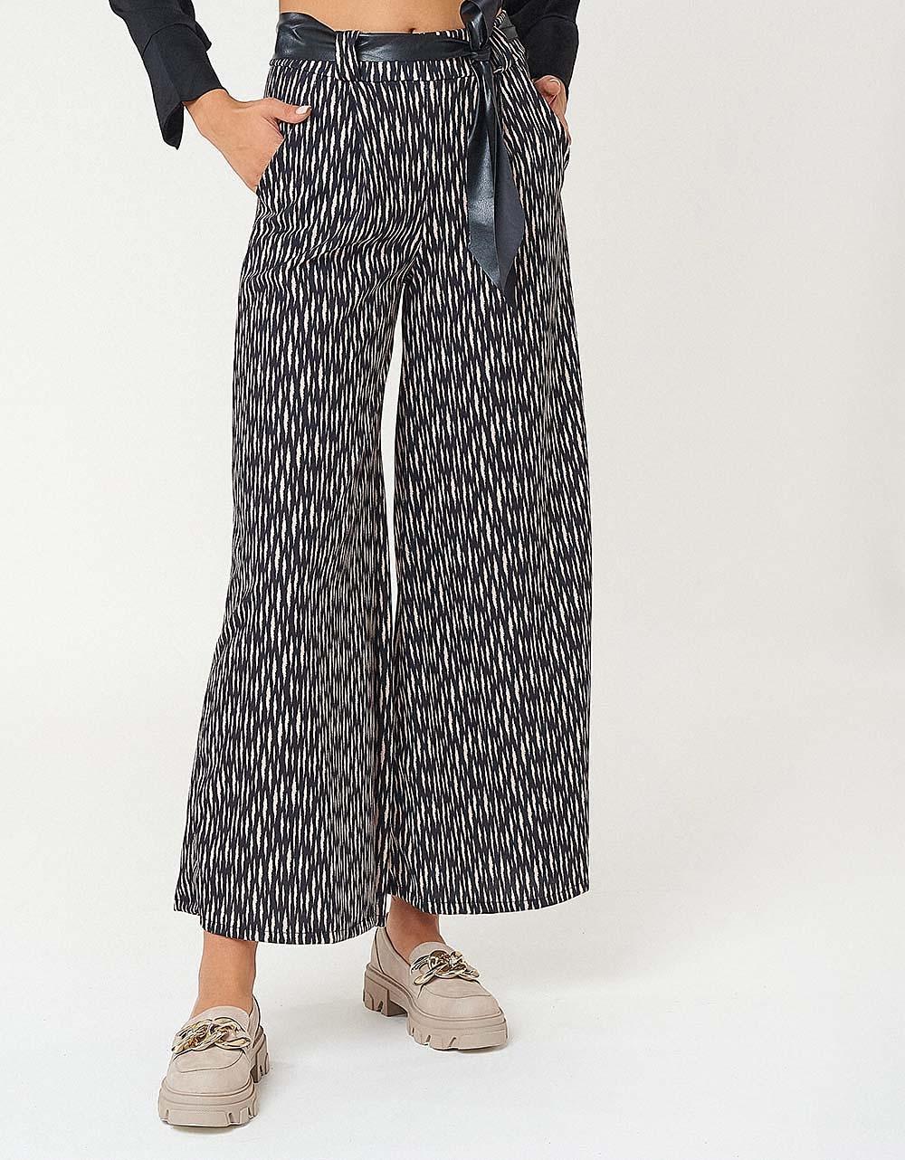Εικόνα από Γυναικείο παντελόνι wide leg με ζωνάκι Μαύρο/Μπεζ