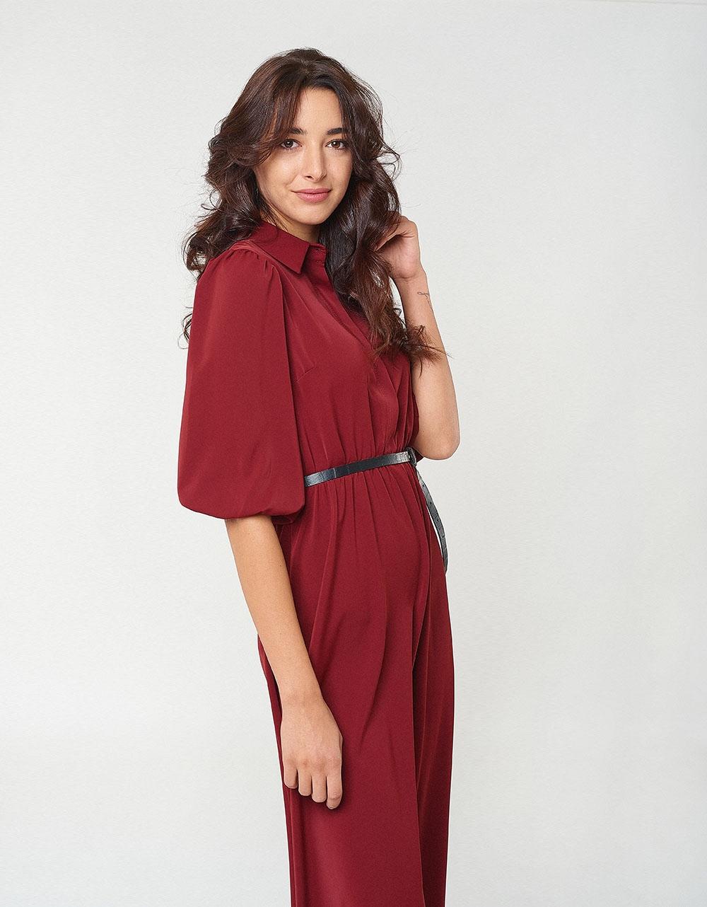 Εικόνα από Γυναικείο φόρεμα με κρόκο ζωνάκι Μπορντώ