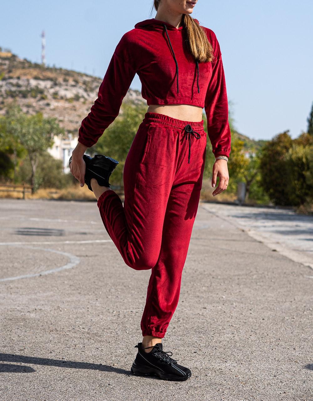 Εικόνα από Γυναικείο σετ μονόχρωμο βελούδο Μπορντώ