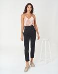 Εικόνα από Γυναικείο υφασμάτινο παντελόνι με πιέτες Μαύρο