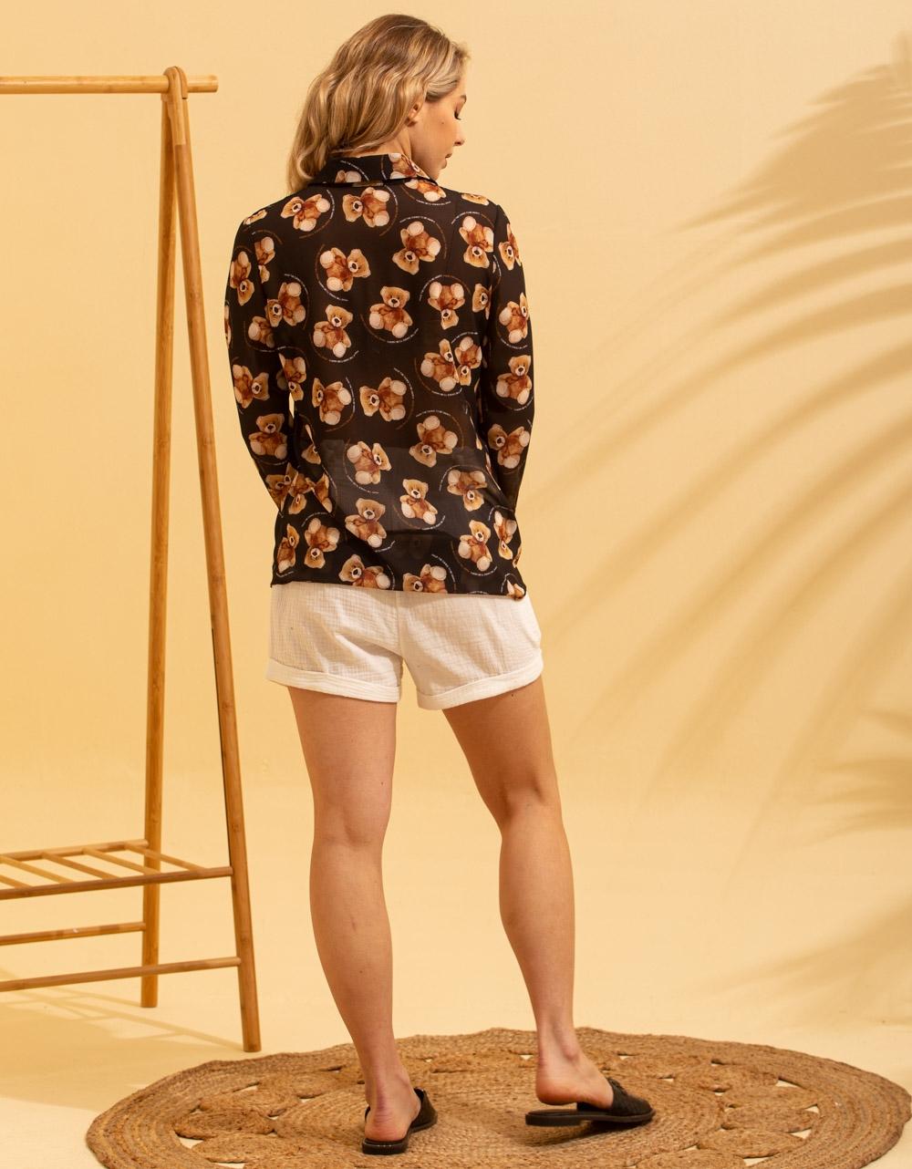 Εικόνα από Γυναικείο πουκάμισο με σχέδια Μαύρο