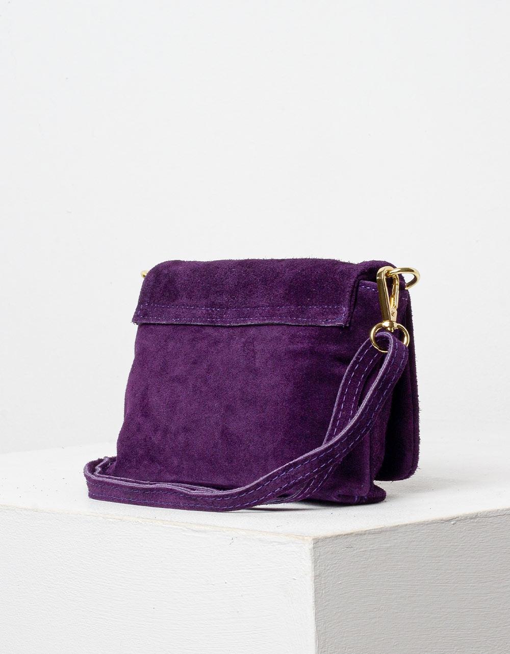 Εικόνα από Γυναικεία τσάντα χιαστί από γνήσιο δέρμα Μωβ