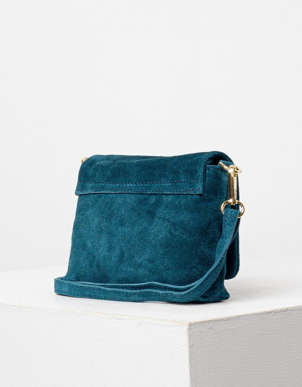 Εικόνα από Γυναικεία τσάντα χιαστί από γνήσιο δέρμα Πετρόλ