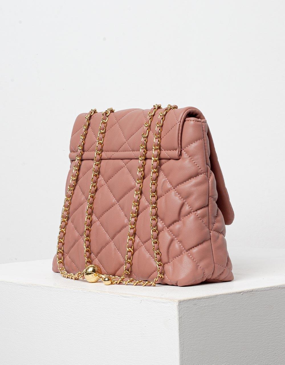 Εικόνα από Γυναικεία τσάντα ώμου με ανάγλυφο pattern Ροζ