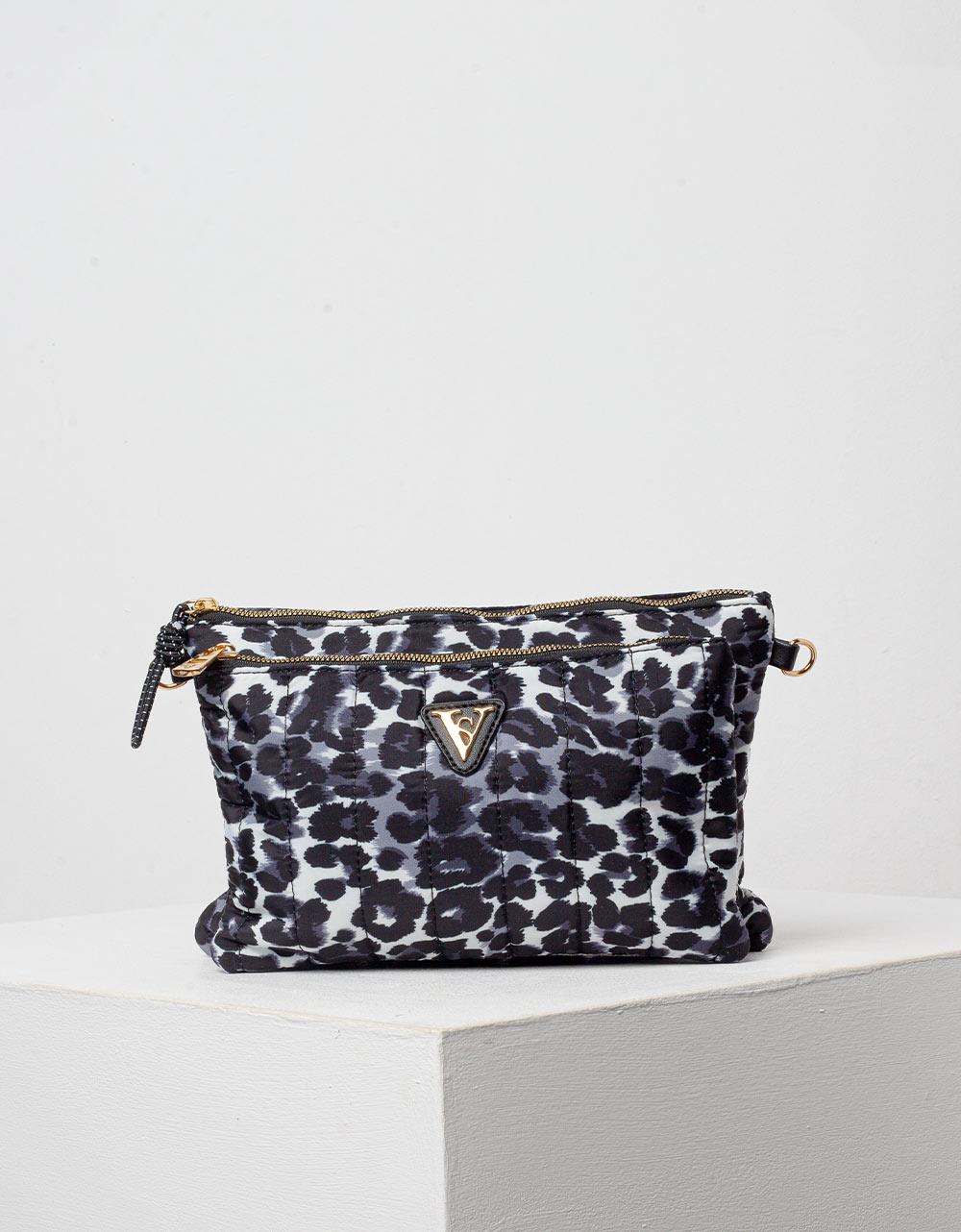 Εικόνα από Γυναικεία τσάντα φάκελος  animal print Μαύρο