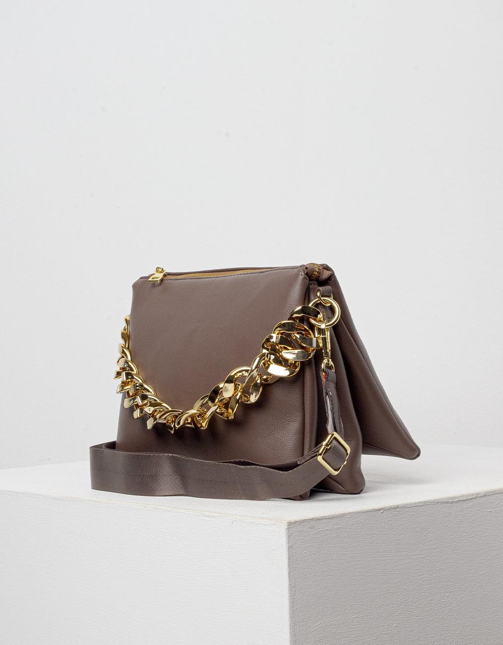 Εικόνα από Γυναικεία τσάντα φάκελος με διακοσμητικούς κρίκους Πούρο
