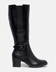 Εικόνα από Γυναικείες μπότες με λάστιχο και λουράκι Μαύρο