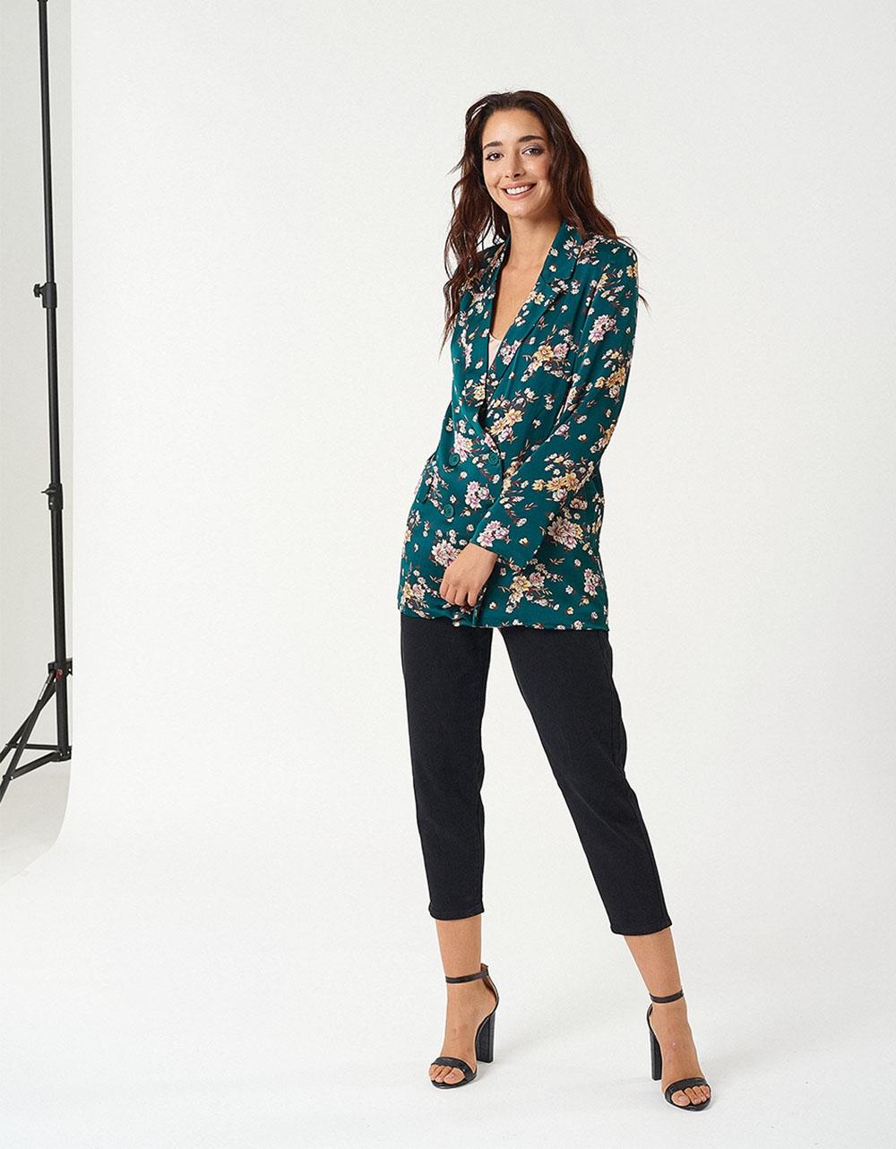 Εικόνα από Γυναικείο σακάκι με λεπτό πέτο printed flowers Πράσινο