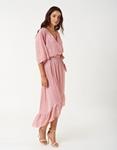 Εικόνα από Γυναικείο φορέμα με βολάν Ροζ
